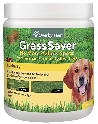 Overby Farm GrassSaver Soft Chews for Dogs | Veterinary Formulated Vitamins | Prevent Yellowing of Lawn | Vitamin & Amino Acid Blend Tablets | Supplement for All Dog Breeds | 120 Chews