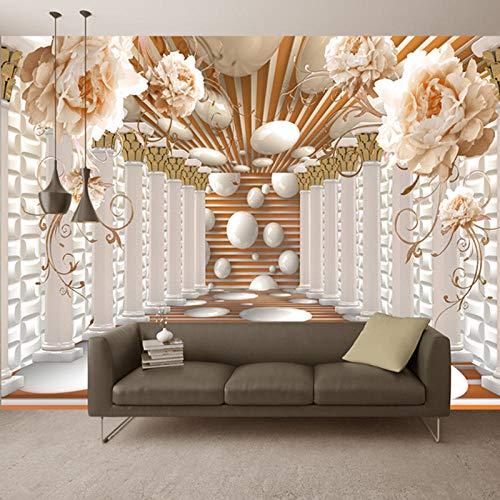 Fotobehang Fotobehang Moderne Abstracte Kunst Rome Column Bloem Woonkamer Studie Achtergrond Behang Home Decor 3D Fresco-150x105 cm (59,1 bij 41,3 inch)
