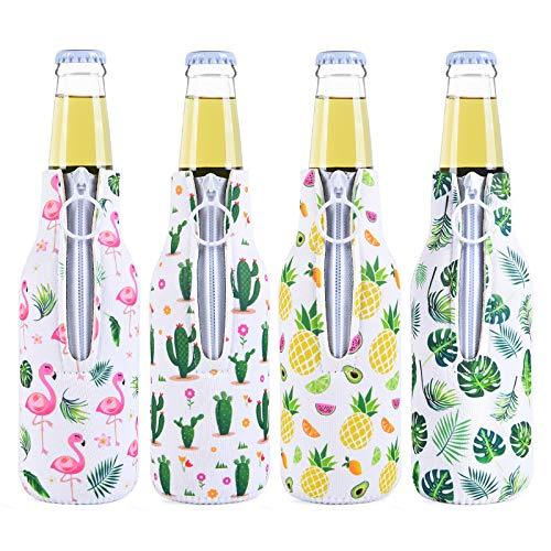 Set von 4 Neopren Flaschenkühler Getränkekühler Bierkühler - Isoliert Bier Flaschenkühler Reißverschluss Bierflaschenhüllen Sommerbier Caddies zum Schwimmbad Strand Party