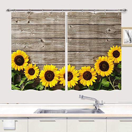 Sunflower Kitchen Window Curtain, Farmhouse Country Yellow Sunflower on Rustic Wooden Board Blackout Curtains for Kitchen Window Cafe Office, 55W x 39L inch