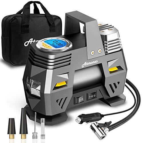 Atmonas Compresor Aire Coche, Compresor Aire Portatil Digital, DC 12V 150PSI (0-35PSI en 4 Mins), Inflador Ruedas Coche con Apagado Automático, LED Luce, 3 Adaptadores de Boquillas y Fusible Adicional