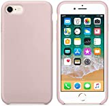 Funda de Silicona Silicone Case para iPhone SE 2020, iPhone 7, iPhone 8, Tacto Sedoso Suave, Carcasa Anti Golpes, Bumper, Forro de Microfibra (Rosa Arena)