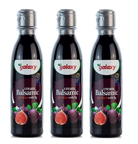 3x 250ml Essig Balsamico Creme mit Feige Galaxy Balsamicocreme dunkel Balsamessig dickflüssig Salat-Dressing Deko 3er Set + 10ml Olivenöl von Kreta zum Test