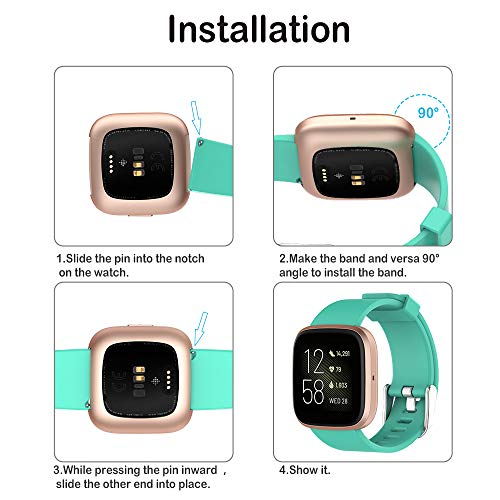 Hianjoo Strap Compatible with Fit Bit Versa/Versa 2 [4 Pack], Adjustable Sport Accessory Wristband Bracelet Replacement for Fit Bit Versa/Versa 2 (Large 6.7-8.1, Black, Grey, Naked pink, Lake Green)