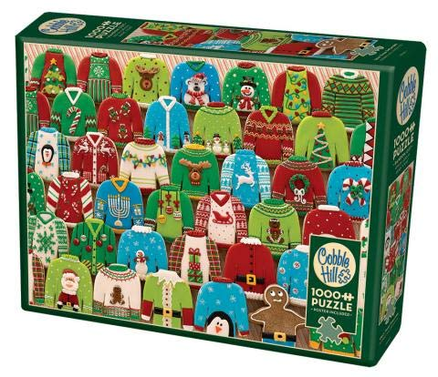 Cobble Hill 1000 Piece Puzzle - Ugly Xmas Sweaters - Sample Poster Included