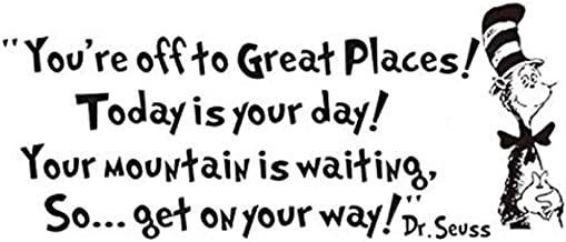 Removable Quotes and Saying Dr. Seuss You're Off to Great Places Transfers Murals Love Baby Kids Bedroom Art Wall Decals Stickers