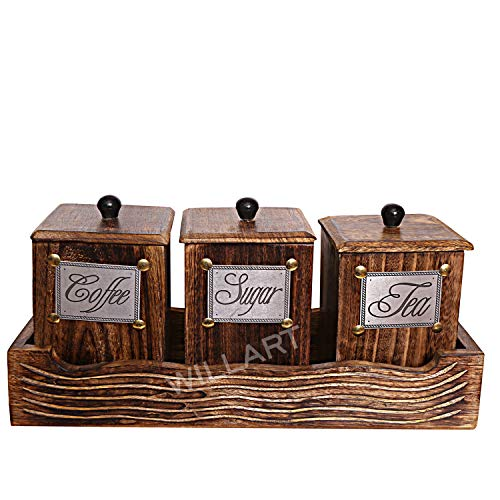 WILLART Handcrafted Wooden Antique Look Tea Coffee Sugar 3 Large Container Set in Wooden Tray - Container Canister