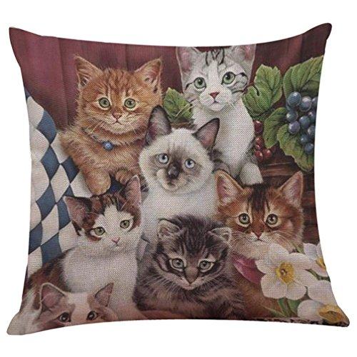HUHU833 Cushion Cover, 43cm*43cm Cute Cat Sofa Bed Home Decoration Festival Pillow Case (M)