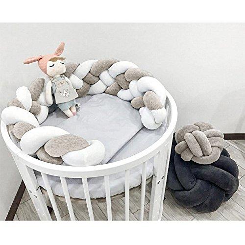 "LOAOL Baby Crib Bumper Knotted Braided Plush Nursery Cradle Decor Newborn Gift Pillow Cushion Junior Bed Sleep Bumper (Gray-White, 118"")"