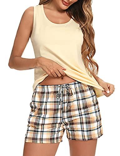 Akalnny Pijamas Mujer Verano 2 Piezas sin Mangas Pijama a Cuadros con Cuello Redondo Ropa de Dormir Estar por Casa Cómodo Suave
