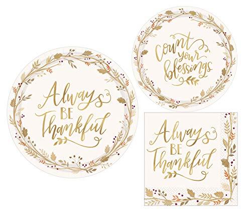 Thanksgiving Fall immer werden dankbar Party–Party Pack Pappteller und Servietten Paket Einweg Geschirr Teller–Dessert Teller und Servietten