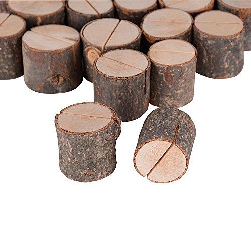 20pcs Soportes Tocón Madera Tarjetas Clips Sostenedor Foto Nota Nombre Número Mensaje Decoración de Mesa Boda