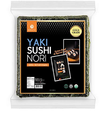 Organic Yaki sushi nori(NuEats), 50 Full sheet, Gold Grade, Roasted seaweed, Resealable, Product of South Korea, USDA Organic, Kosher, Premium quality(50 full sheet x 1package)