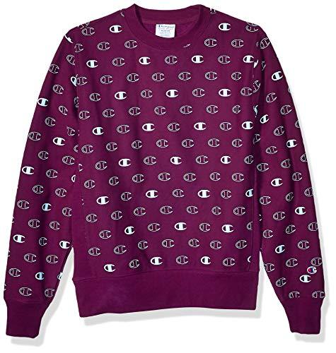 Champion Life Herren Reverse Weave Crew - Tossed C Logos Sweatshirt, C Logo Spaced Venetian Purple, Small