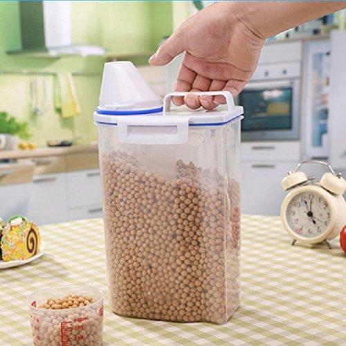 Couvert avec 2 kg de réservoir de stockage en plastique Caisses de riz Transparent Réservoir de stockage transparent Boîtes de stockage de grain portable