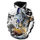 SMYUI Sudadera con Capucha para Hombre Estampado 3D Bolsillo Grande Animal Print Men's Round Neck Fashion Hoodie-14 Medium Animal Print Men's Round Neck Fashion Hoodie-14 Medium