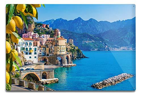 Lantern Press Small Town Atrani on Amalfi Coast, Buildings & Blue Water A-9002793 (12x18 Aluminum Wall Sign, Metal Wall Decor)