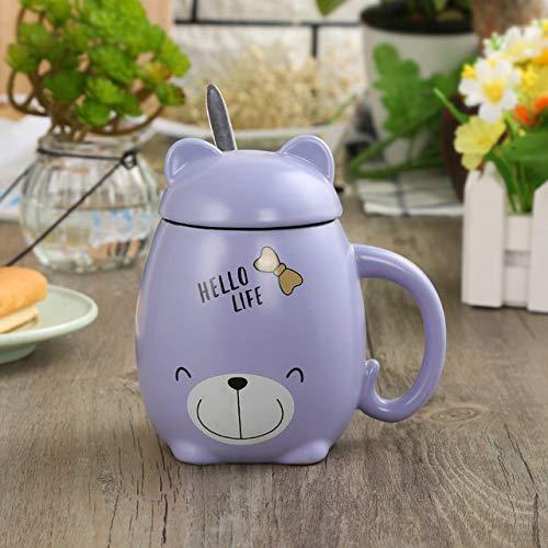 ZYJ Creative Ceramic Mug Personality Cute Piggy with Lid Cute Cartoon Cute Animal Milk Cup Coffee Cup Couple Water Cup Mugs,Purple Panda