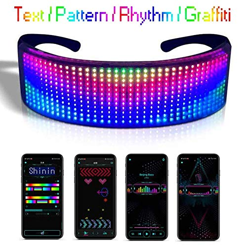 XYSQWZ LED Dynamic Brille Bluetooth Programmierbare Smart Brille mit APP Connected Control DIY Text Graffiti Animation Rhythmus für Halloween-Partys Raves Cosplay Brille
