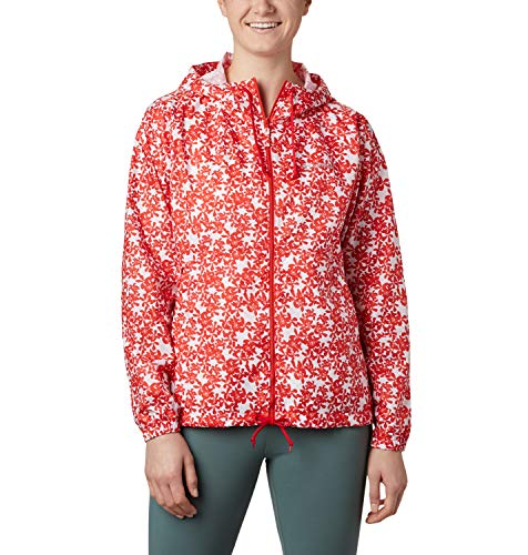 Columbia Flash Forward, Chaqueta cortavientos estampada, Mujer, Naranja (Bold Orange Polkadot Floral),...