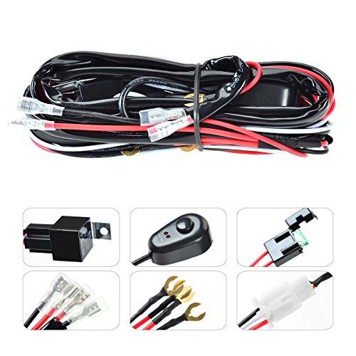 KAWELL® Kabelbaum Kabelsatz Relais 40 Amp Adapter Mit ON/OFF Schalter für 120W Zusatzscheinwerfer Quad Offroad Flutlicht Reflektor Scheinwerfer Arbeitslicht LED Lichtleisten (2 Blei 6,5ft)