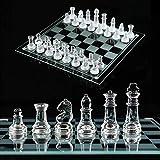 NANDAN Conjunto de ajedrez de Cristal, Piezas de ajedrez de Vidrio de Gama Alta de K9 y Pulgadas de ajedrez Pulgadas, Drafts Board Game Ideal para niños Adultos Regalo (8 en 14 Pulgadas),35X35cm