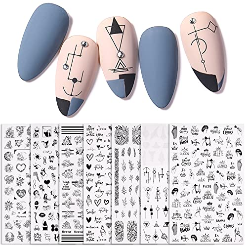 AUXSOUL Decorazioni Unghie Nail Art Adesivi, Adesivi per Unghie Stickers Unghie Nail Art Water Decals Nails, 7 Fogli