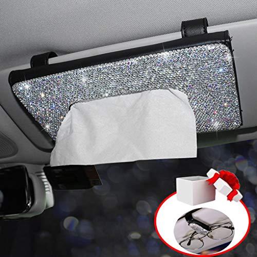 Dotesy Sparkling Bling Car Visor Tissue Holder Leather Crystals Paper Towel Cover Case & Glitter Sunglasses Clip for Women(Black)