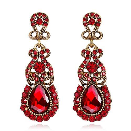 Klassieke damesoorbellen, legering diamant oorbellen, cadeau voor vriendin, zwart rood