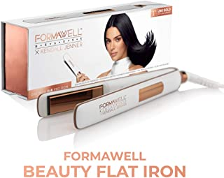 Formawell Beauty x Kendall Jenner One Inch 24K Gold Pro Flat Iron Hair Straightener | Ultra-Fast Heating to 450°F with LED...
