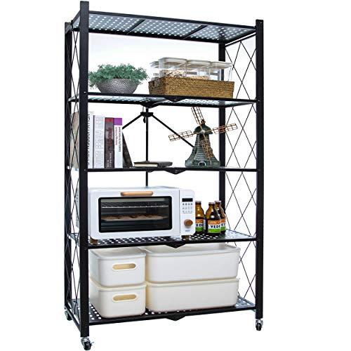 Citylife 5-Tier Foldable Shelves with Wheels Storage Shelving Unit Heavy Duty Garage Storage Rack Black Metal Kitchen Shelf