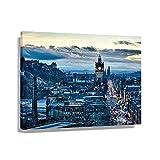 Póster artístico de Edimburgo para pared, pintura de salón, imagen horizontal, para decoración de baño, hogar (90 x 60 cm), enmarcado)