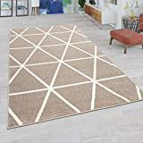 Paco Home Alfombra Salón, Modernos Colores Pastel, Estilo Escandinavo, Motivo De Rombos, tamaño:240x320 cm, Color:Marrón