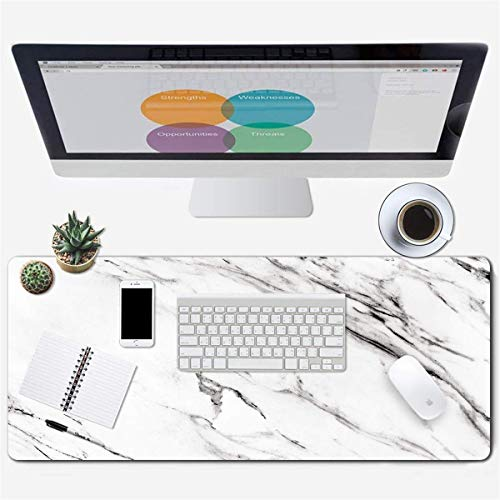 Galdas Large Gaming Mouse Pad Full Desk Mouse Pad Long Extended Mouse pad Desk Pad Non-Slip Rubber Mice Pads Stitched Edges Thin Pad (31.5x11.8x0.08 Inch) (White Marble)