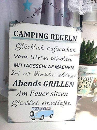 Camping Regeln Schild Bus, Höhe/Breite: ca. 297 mm x 210 mm Materialien: Holz, Draht