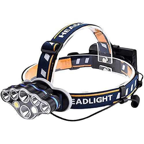 QQWJSH Linterna LED de múltiples lámparas Luz Fuerte Al Aire Libre Montado en la Cabeza Recargable Pesca Nocturna Pesca de Larga duración Especial 18650 Batería de Litio