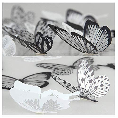 36 piezas 3D Etiqueta de la pared mariposa Muebles de bricolaje decoracion Etiqueta engomada de la mariposa del diseño del arte de la moda Decoración de la habitación del bebé /Negro