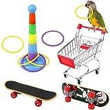 Huahao Juguetes para pájaros Juego de Juguetes para Loros, Juguetes y Accesorios de Entrenamiento para Loros, Patineta para Loros Carrito para Loros Virola de Bola - Color Aleatorio