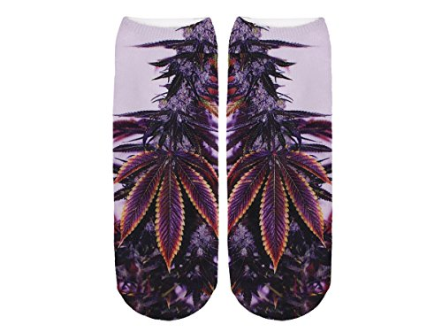 Unbekannt Socken bunt mit lustigen Motiven Print Socken Motivsocken Damen Herren ALSINO, Variante wählen:SO-L096 Marihuana
