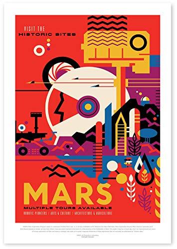 """Nukular Kunstdruck Poster A3 """"Mars – Visit The Historic Sides"""" Original NASA (JPL) Design"""