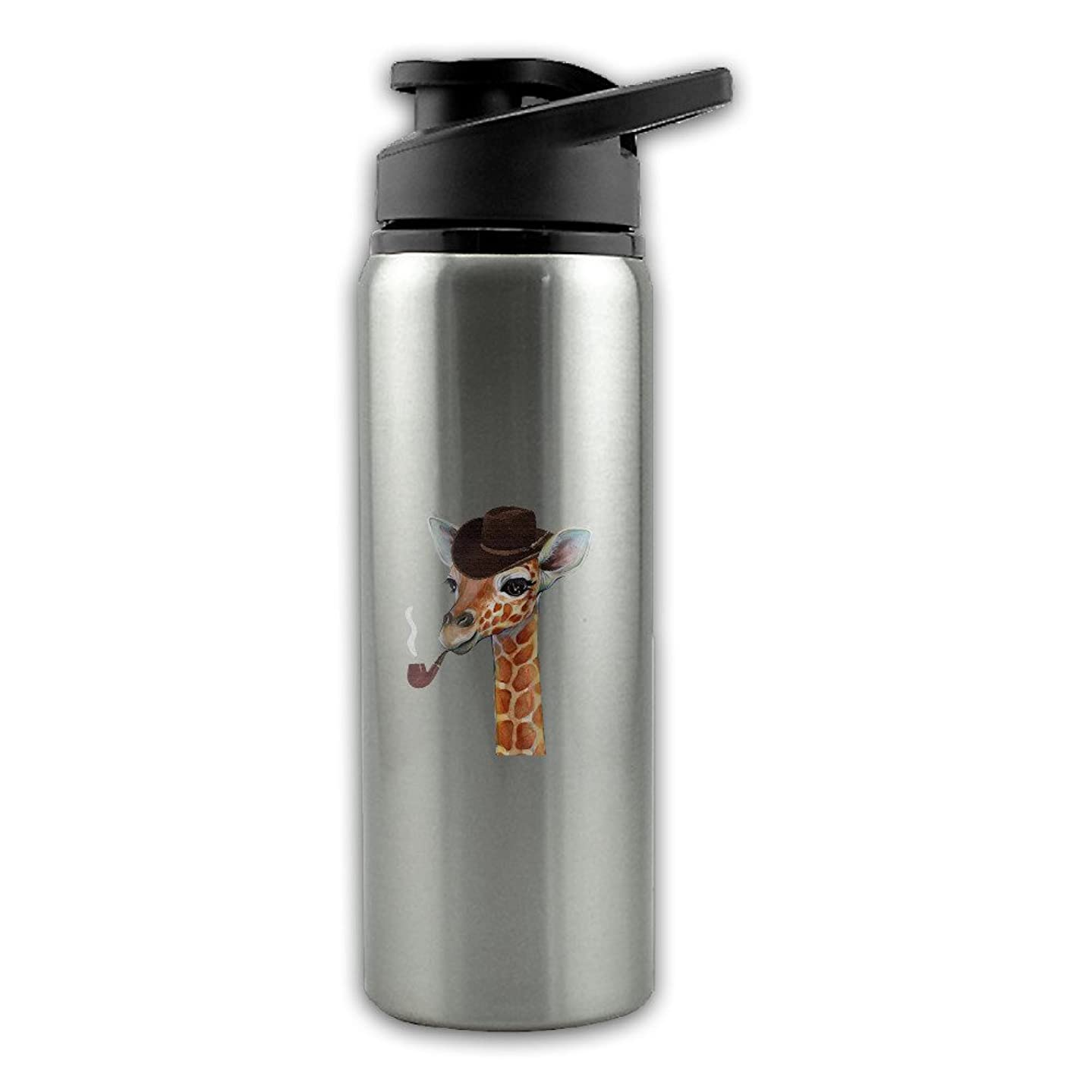 Pipe Giraffe With A Cowboy Hat Stainless Steel Layer Sports Water Bottle With Wide Mouth 24oz
