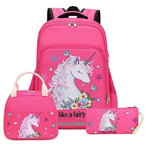 Girls Backpack for Kids Elementary Bookbag Girly School bag Children Laptop Bag (Rosy - 3 Pieces)