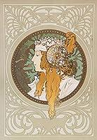 絵画風 壁紙ポスター (はがせるシール式) アルフォンス・ミュシャ ビザンティン風の頭部:ブロンド 1897年 アールヌーヴォー キャラクロ K-MCH-080S1 (585mm×851mm) 建築用壁紙+耐候性塗料