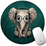 Marphe Mouse Pad Green Pattern Headset Music Elephant Mousepad Non-Slip Rubber Gaming Mouse Pad Round Mouse Pads for Computers Laptop headset for gaming Mar, 2021