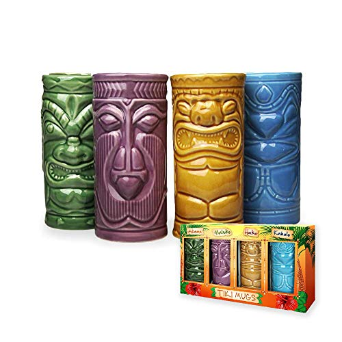 mikamax - Tiki Becher – Tiki Mugs - 4er Set - Keramik - Cocktailbecher - Cocktailgläser - Tiki Bar Zubehör - Partydekoration –14cm x 6,5 Ø - Tiki Cocktail Party