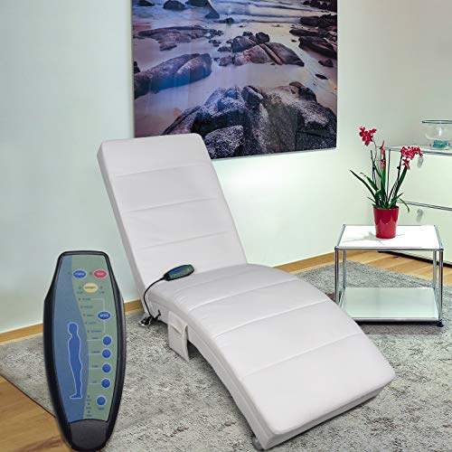 Polar Aurora Massage Chaise Lounge - PU Leather Ergonomic Electric Recliner Chair with Remote Control and Heating Function White