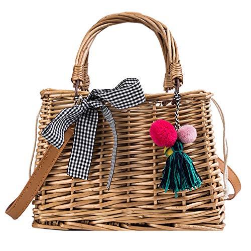 Sommer Damen Sommer Kleine Tasche Weibliche Messenger Schulter Gewebte Strohkorb Tasche Handtasche