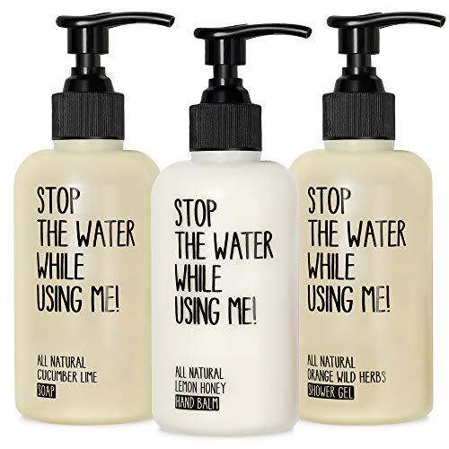 STOP THE WATER WHILE USING ME! All Natural Small Body Love Set, beinhaltet Soap, Hand Balm und Shower Gel, Naturkosmetik in nachfüllbaren 200ml-Spendern
