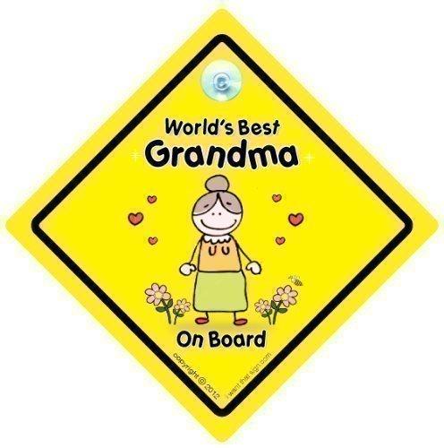 World's Best Grandma sur planche, du monde Inscription World's Best Grandma, bébéà bord, autocollant, Sticker pare-chocs, signe, petit-enfant signe, grands-parents, voiture Panneau, signe, voiture pour bébé, signe, bébé pour bébé, signes, Grandad, Pops, Nanny, grands-parents