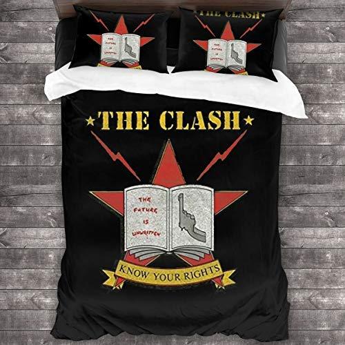 N \ A The Clash Juego de edredón de 3 piezas, juego de ropa de cama de 86 x 70 pulgadas con 1 juego de edredón y 2 fundas de almohada, suave y cómodo